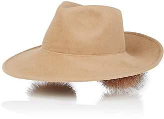 Lola Hats Women's Bookends Pom-Pom Fur Fedora
