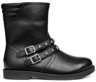 H&M Studded Biker Boots - Black