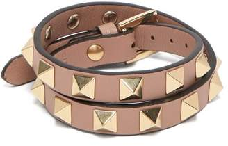 Valentino Rockstud Wraparound Leather Bracelet - Womens - Pink