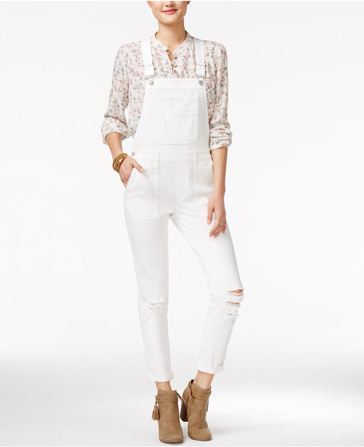 American RagAmerican Rag Ripped One White Wash Overalls, Only at Macy's