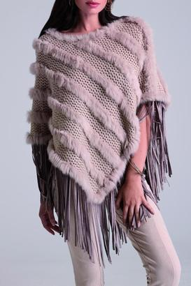 Alberto Makali Fur Fringe Poncho $198 thestylecure.com