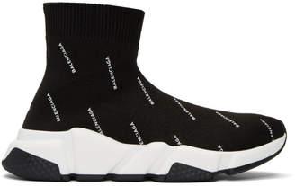 Balenciaga Black All-Over Logo Speed High-Top Sneakers