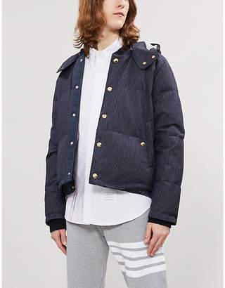 Thom Browne Striped-trim regular-fit cotton-twill oxford shirt