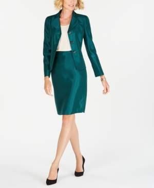 Le Suit Three-Button Shiny Skirt Suit