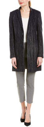 Elie Tahari Leather-Trim Wool-Blend Coat