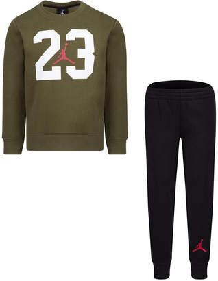 Jordan Toddler Boys 2-Pc. Textured 23-Print Fleece Top & Pants Set