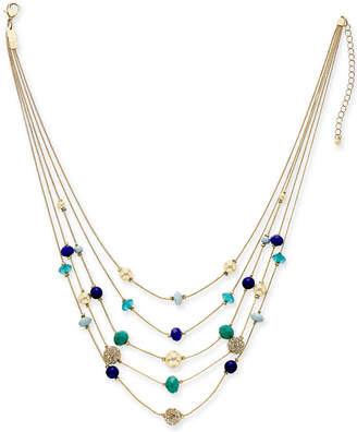 "INC International Concepts I.n.c. Gold-Tone Pave & Bead Multi-Layer Necklace, 18"" + 3"" extender, Created for Macy's"