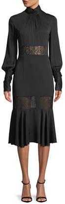 Milly Arianna Long-Sleeve Python Lace Midi Dress