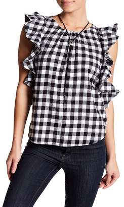 Harlowe & Graham Gingham Ruffle Tank Top