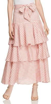 Badgley Mischka Striped Ruffle Maxi Skirt