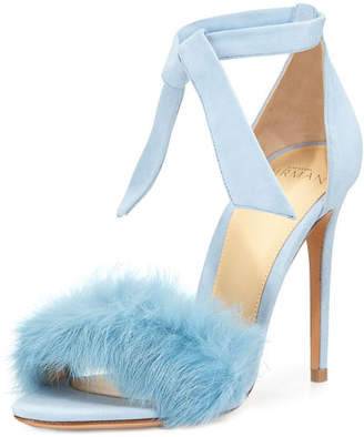 Alexandre Birman Clarita Fur-Strap Ankle-Tie Sandal