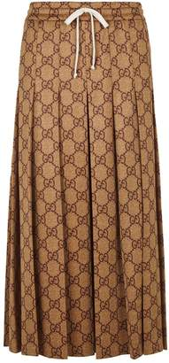 Gucci Pleated GG Logo Midi Skirt