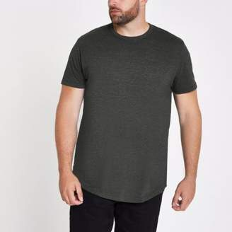 River Island Big and Tall dark grey slim fit marl T-shirt