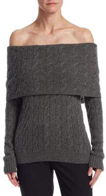 Ralph Lauren Collection Off-The-Shoulder Cable Knit Sweater