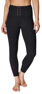 Betsey Johnson High-Rise Lace-Up Leggings
