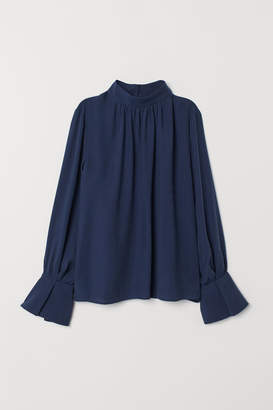 H&M Blouse with Stand-up Collar - Blue