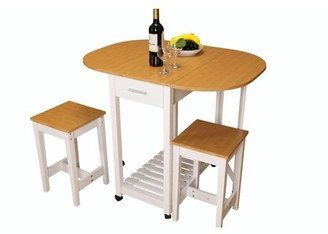 Basicwise 3 Piece Kitchen Island Breakfast Bar Set with casters, Drop Down Island table with 2 Stools