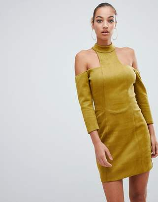 Forever Unique cold shoulder high neck mini dress