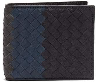 Bottega Veneta - Tri Colour Bi Fold Intrecciato Leather Wallet - Mens - Navy Multi
