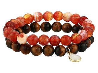 Dee Berkley Freedom Tiger Eye Genuine Gemstone Beaded Bracelet Set