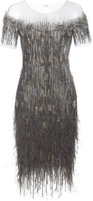 Pamella Roland Ostrich Feather Sequin Embellished Mini Dress With