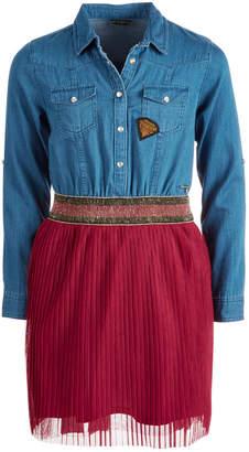 GUESS Big Girls Denim Mesh Pleated Dress