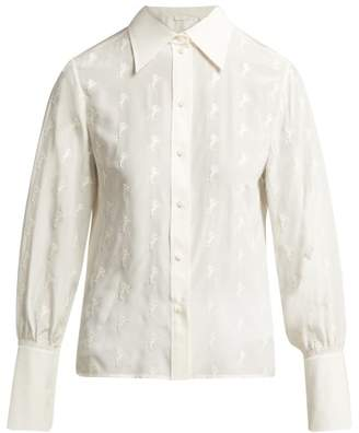 Chloé Horse Embroidered Silk Georgette Blouse - Womens - Ivory