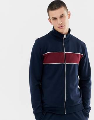 Selected tracksuit jacket with block stripe