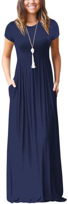 Zilcremo Women Summer Casual Short Sleeve Solid Side Pockets Maxi Party Dress Darkblue XS