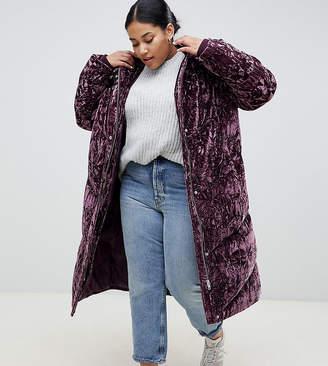 Asos DESIGN Curve longline velvet padded jacket
