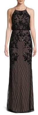Adrianna Papell Embellished Halterneck Floor-Length Dress