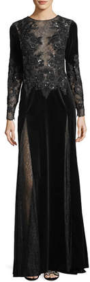 Murad Zuhair Long-Sleeve Embroidered Velvet Evening Gown with Lace