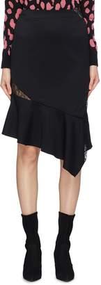 Alice + Olivia 'Damaris' lace panel asymmetric ruffle hem skirt