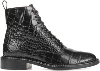 Vince Cabria Croc-Print Leather Booties