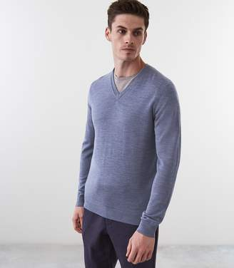 Reiss Earl - Merino Wool Jumper in Mid Blue Melange