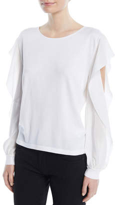 Agnona Round-Neck Ruffled Long-Sleeve Silk-Cotton Knit Top