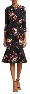 Theia Floral-Print Flounce Midi Dress