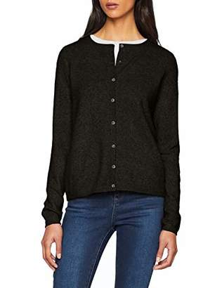Vero Moda Women's's Vmdoffy Ls Short Button Cardigan Noos (Black Detail: Melange), (Size: Small)
