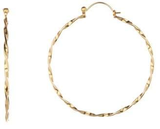 Argentovivo 18K Gold Plated Sterling Silver Twist Wire Hoop Earrings