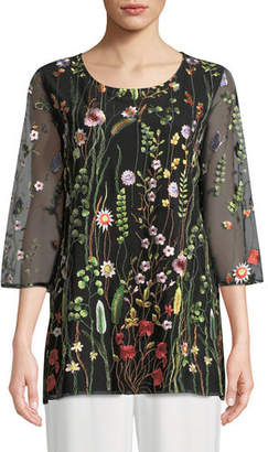 Caroline Rose Plus Size Garden Walk Embroidered Layered Tunic