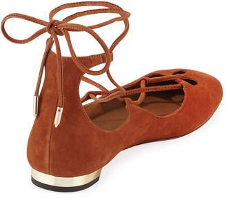 Aquazzura Dancer Lace-Up Ballet Flats, Brown