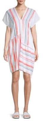 Lemlem Asha Short-Sleeve Stripe Tunic Dress