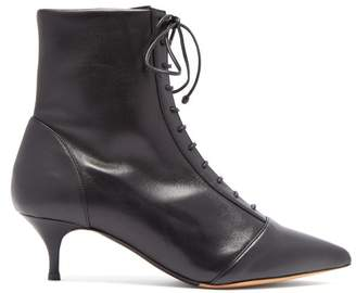 Tabitha Simmons Emmet Lace Up Leather Ankle Boots - Womens - Black