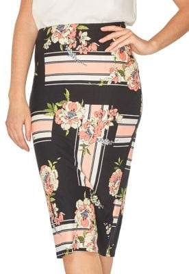 Dorothy Perkins Floral Striped Pencil Skirt