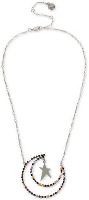 "BCBGMAXAZRIA (ビーシービージーマックスアズリア) - Bcbg Silver-Tone Multicolor Crystal Moon & Star Pendant Necklace, 18"" + 3"" extender"