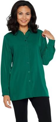 Susan Graver Stretch Peachskin Fabric Button Front Big Shirt