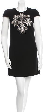 Saint LaurentSaint Laurent Stud-Embellished Virgin Wool Dress w/ Tags