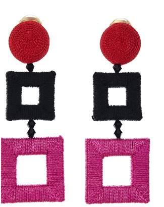 Oscar de la Renta Wrapped Double Square C Earring