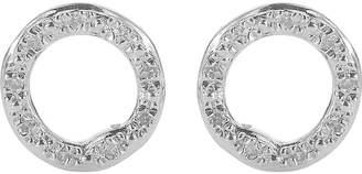 Monica Vinader Riva sterling silver pavé diamond circle stud earrings