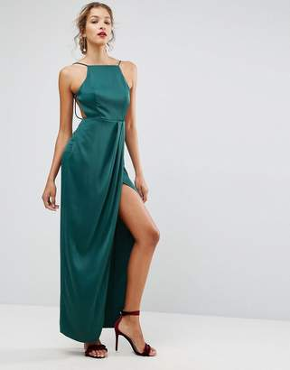 Asos Design Drape Front Delicate Back Satin Maxi Dress